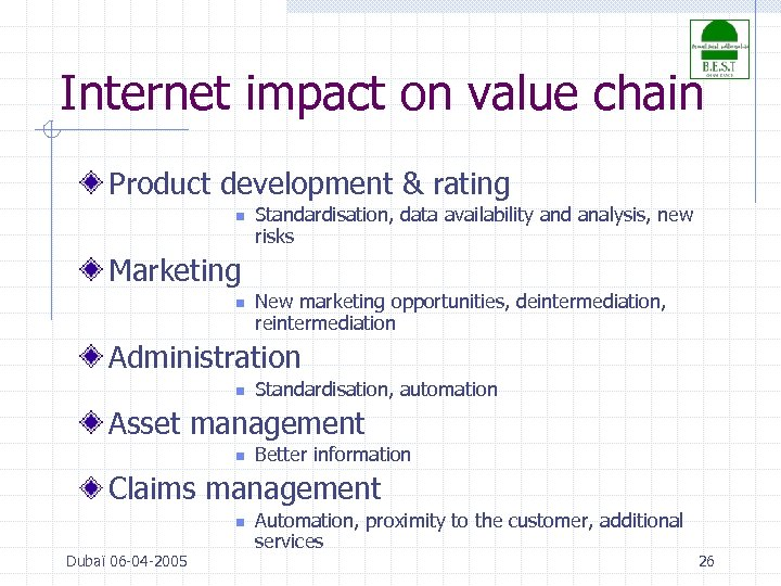 Internet impact on value chain Product development & rating n Standardisation, data availability and