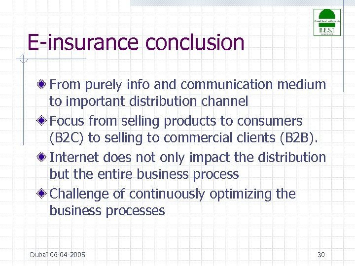 E-insurance conclusion From purely info and communication medium to important distribution channel Focus from