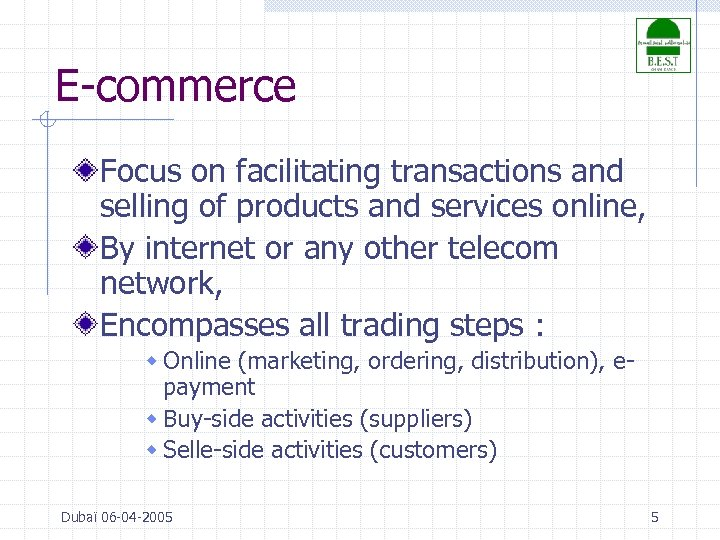 E-commerce Focus on facilitating transactions and selling of products and services online, By internet