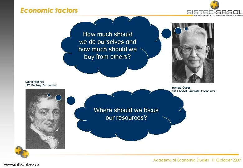 Economic factors How much should we do ourselves and how much should we buy