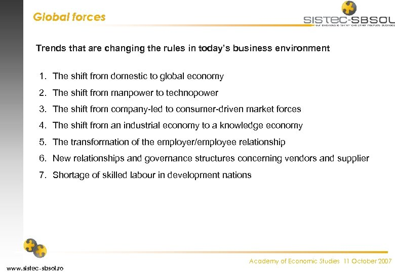 Global forces Trends that are changing the rules in today's business environment 1. The