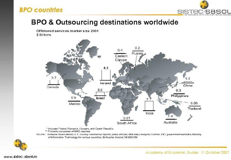 BPO countries BPO & Outsourcing destinations worldwide www. sistec-sbsol. ro Academy of Economic Studies