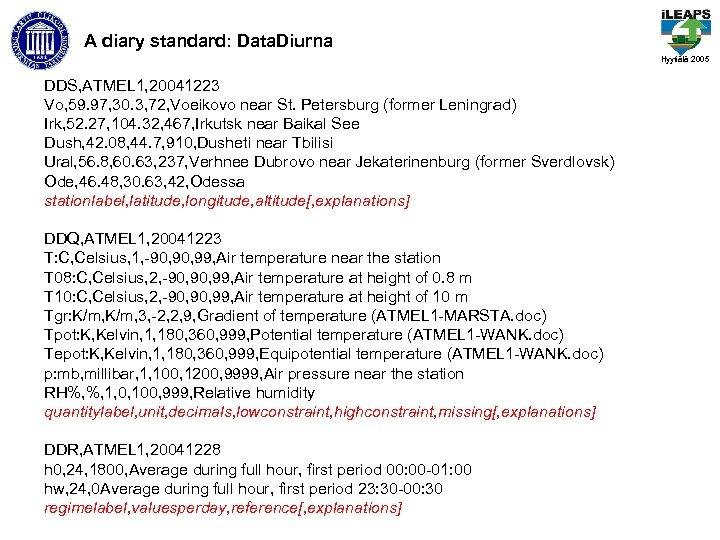 A diary standard: Data. Diurna Hyytiälä 2005 DDS, ATMEL 1, 20041223 Vo, 59. 97,