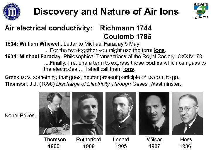 Discovery and Nature of Air Ions Air electrical conductivity: Hyytiälä 2005 Richmann 1744 Coulomb