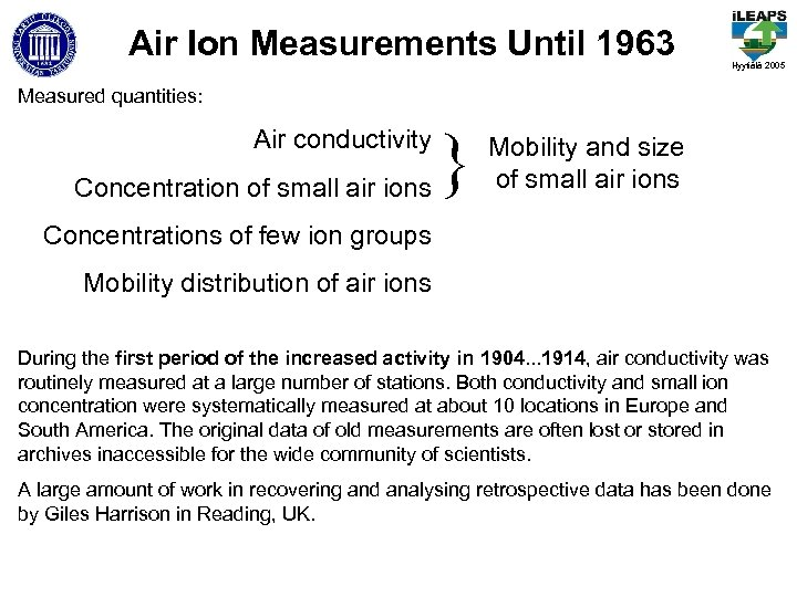 Air Ion Measurements Until 1963 Hyytiälä 2005 Measured quantities: Air conductivity Concentration of small
