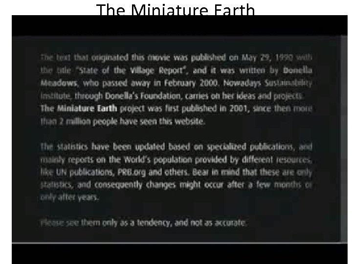 The Miniature Earth