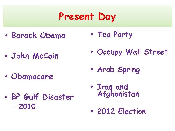 Present Day • Barack Obama • Tea Party • John Mc. Cain • Occupy