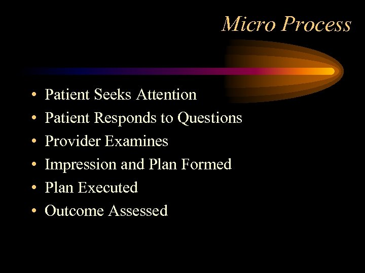 Micro Process • • • Patient Seeks Attention Patient Responds to Questions Provider Examines