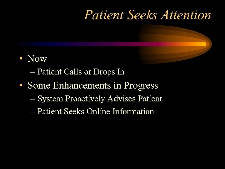 Patient Seeks Attention • Now – Patient Calls or Drops In • Some Enhancements
