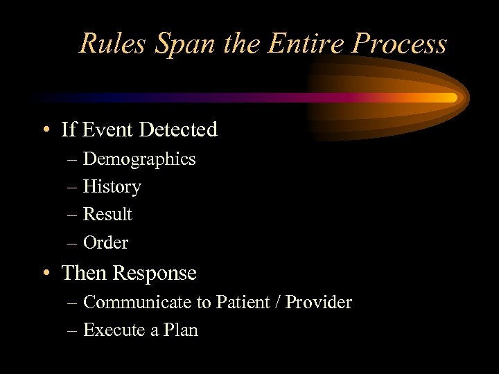 Rules Span the Entire Process • If Event Detected – Demographics – History –