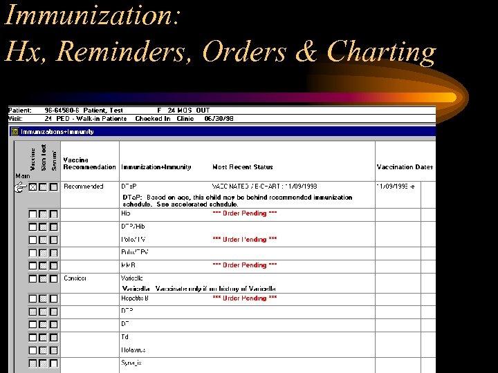 Immunization: Hx, Reminders, Orders & Charting