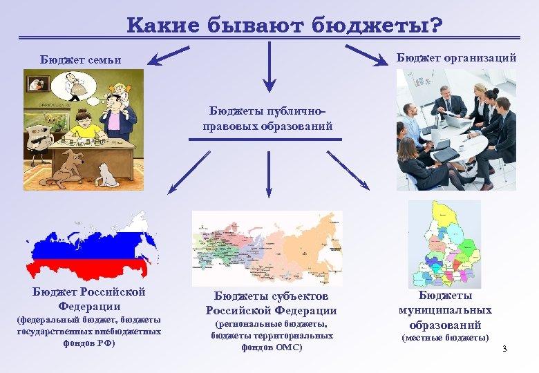 Какие бывают бюджеты? Бюджет организаций Бюджет семьи Бюджеты публичноправовых образований Бюджет Российской Федерации (федеральный