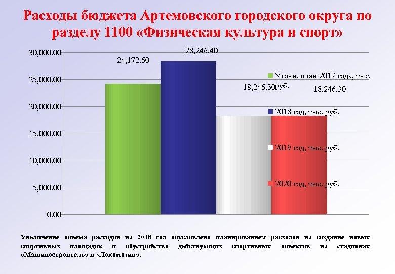 Расходы бюджета Артемовского городского округа по разделу 1100 «Физическая культура и спорт» 30, 000.