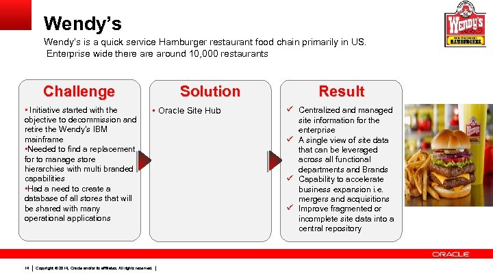 Wendy's is a quick service Hamburger restaurant food chain primarily in US. Enterprise wide