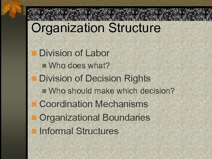 Organization Structure n Division of Labor n Who does what? n Division of Decision