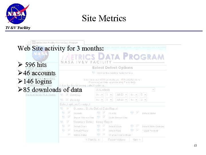 Site Metrics IV&V Facility Web Site activity for 3 months: Ø 596 hits Ø