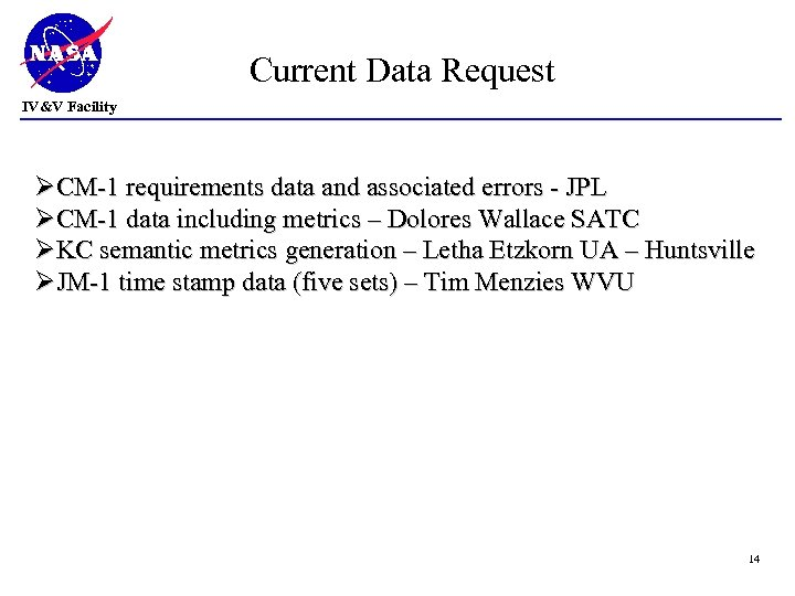 Current Data Request IV&V Facility ØCM-1 requirements data and associated errors - JPL ØCM-1