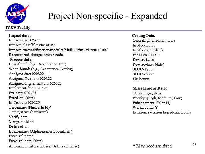 Project Non-specific - Expanded IV&V Facility Impact data: Impacts-csc: CSC* Impacts-class/file: class/file* Impacts-method/function/module: Method/function/module*