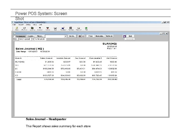 Power POS System: Screen Shot Sales Journal – Headquarter This Report shows sales summary
