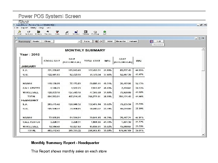 Power POS System: Screen Shot Monthly Summary Report - Headquarter This Report shows monthly
