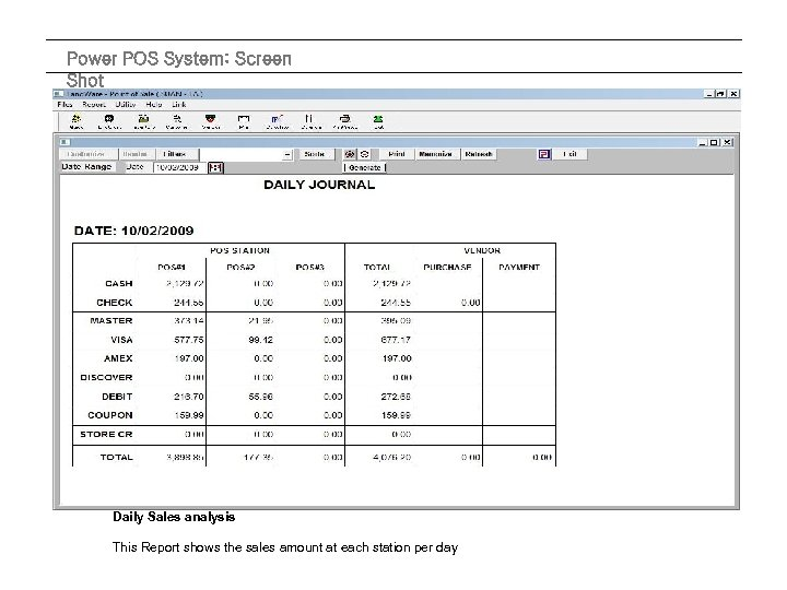 Power POS System: Screen Shot Daily Sales analysis This Report shows the sales amount