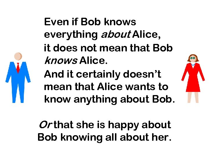 Even if Bob knows everything about Alice, it does not mean that Bob knows