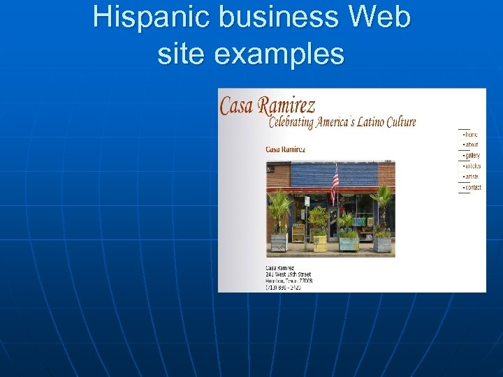 Hispanic business Web site examples