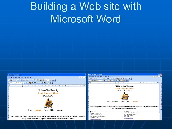 Building a Web site with Microsoft Word