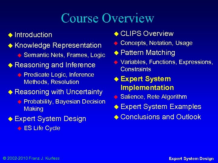 Course Overview ◆ CLIPS ◆ Introduction ◆ Knowledge ◆ Semantic Nets, Frames, Logic ◆