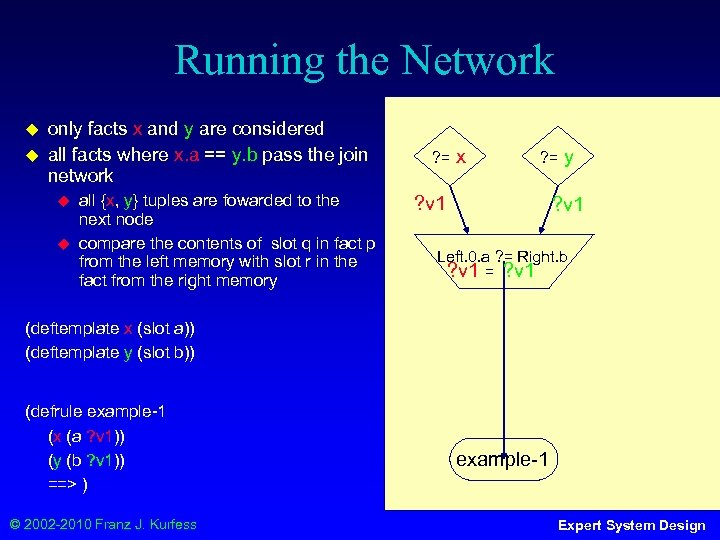 Running the Network ◆ ◆ only facts x and y are considered all facts