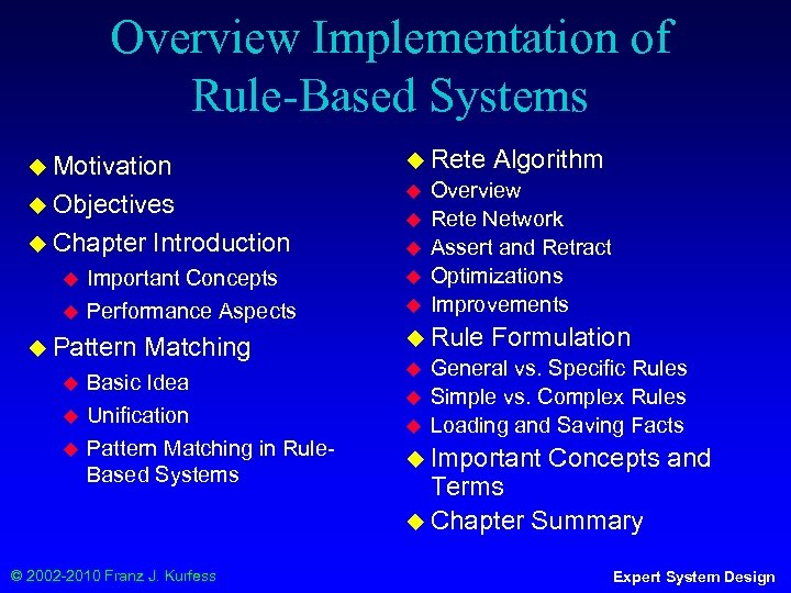 Overview Implementation of Rule-Based Systems ◆ Motivation ◆ Rete ◆ Objectives ◆ ◆ Chapter