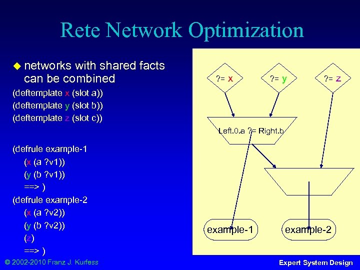 Rete Network Optimization ◆ networks with shared facts can be combined ? = x
