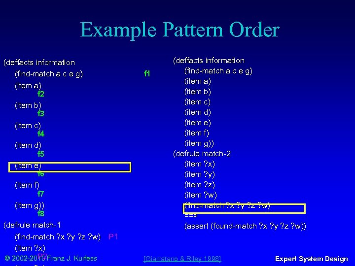 Example Pattern Order (deffacts information (find-match a c e g) (item a) f 2