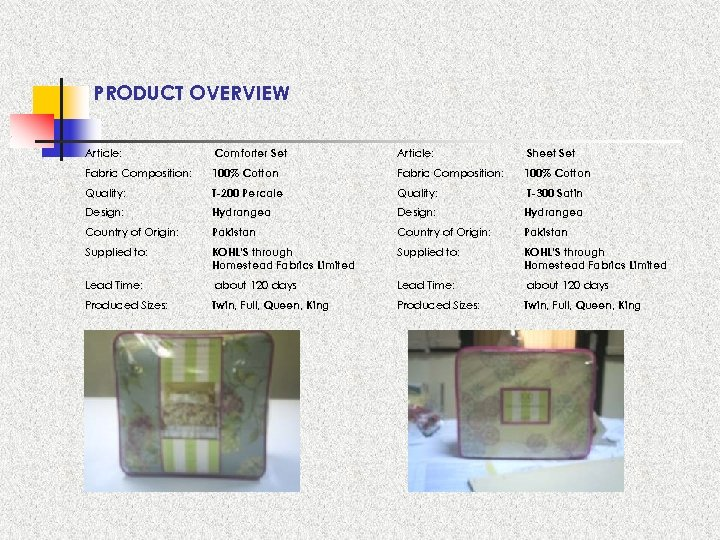 PRODUCT OVERVIEW Article: Comforter Set Article: Sheet Set Fabric Composition: 100% Cotton Quality: T-200