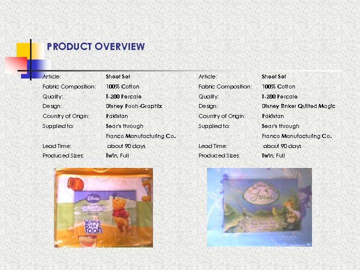 PRODUCT OVERVIEW Article: Sheet Set Fabric Composition: 100% Cotton Quality: T-200 Percale Design: Disney