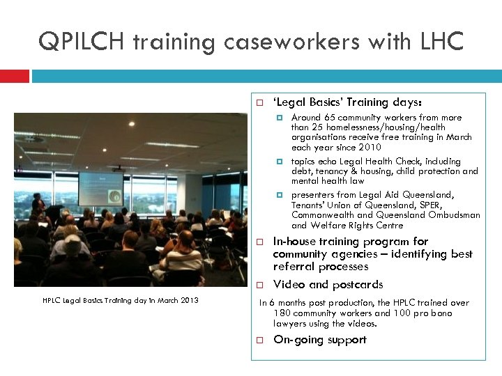 QPILCH training caseworkers with LHC 'Legal Basics' Training days: HPLC Legal Basics Training day