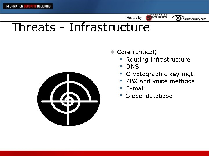 Threats - Infrastructure l Core (critical) • Routing infrastructure • DNS • Cryptographic key
