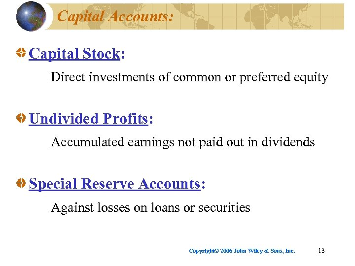 Capital Accounts: Capital Stock: Direct investments of common or preferred equity Undivided Profits: Accumulated
