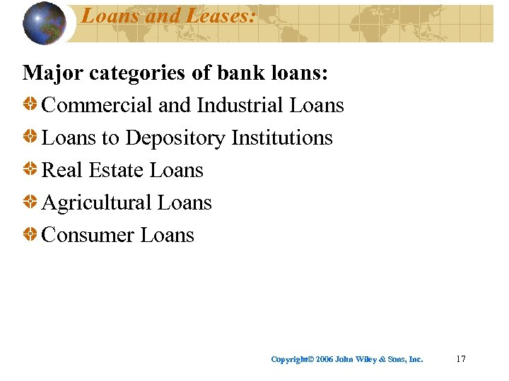 Loans and Leases: Major categories of bank loans: Commercial and Industrial Loans to Depository