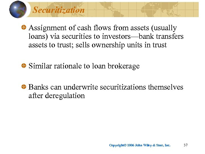Securitization Assignment of cash flows from assets (usually loans) via securities to investors—bank transfers