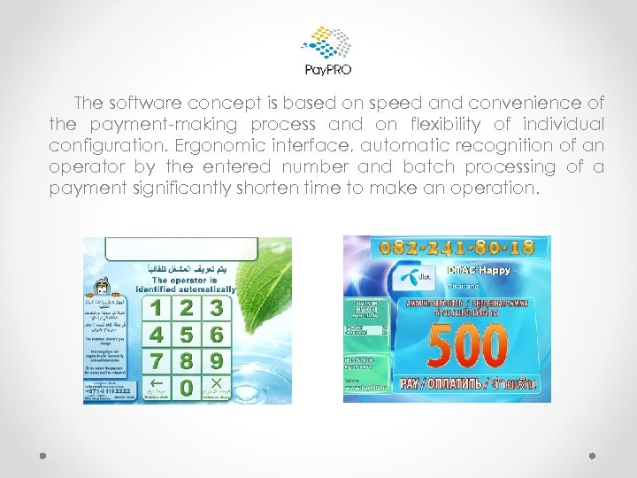 The software concept is based on speed and convenience of the payment-making process and
