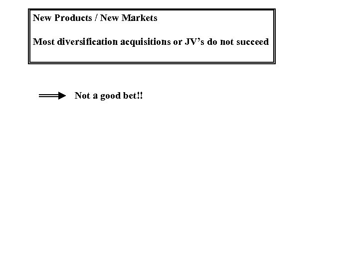 New Products / New Markets Most diversification acquisitions or JV's do not succeed Not