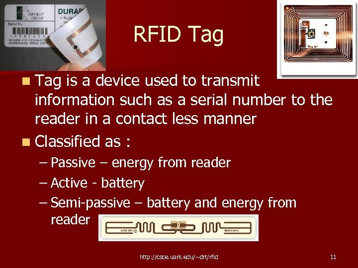 RFID Tag n Tag is a device used to transmit information such as a
