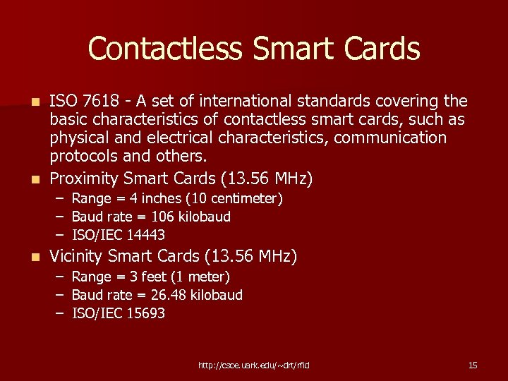 Contactless Smart Cards ISO 7618 - A set of international standards covering the basic