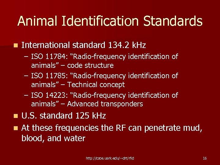 "Animal Identification Standards n International standard 134. 2 k. Hz – ISO 11784: ""Radio-frequency"