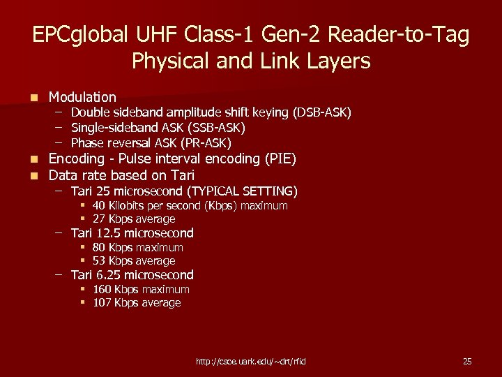 EPCglobal UHF Class-1 Gen-2 Reader-to-Tag Physical and Link Layers n Modulation n n Encoding