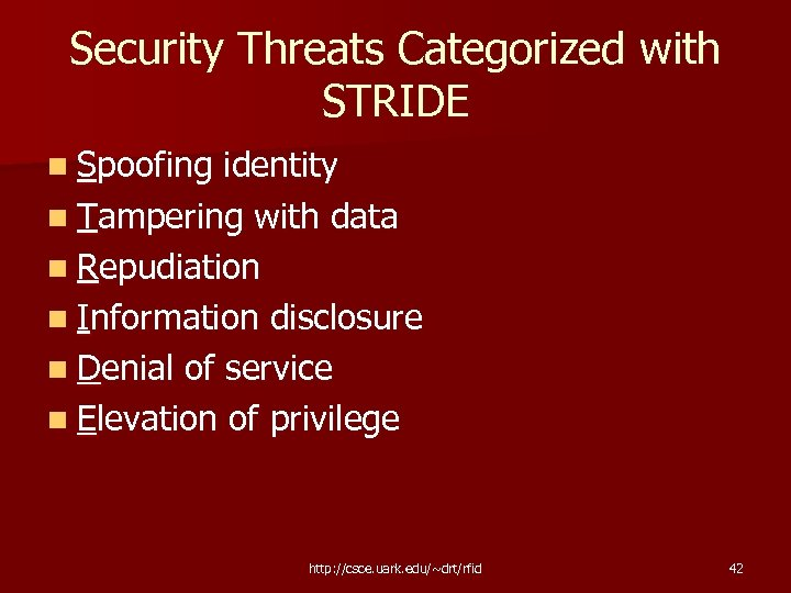 Security Threats Categorized with STRIDE n Spoofing identity n Tampering with data n Repudiation