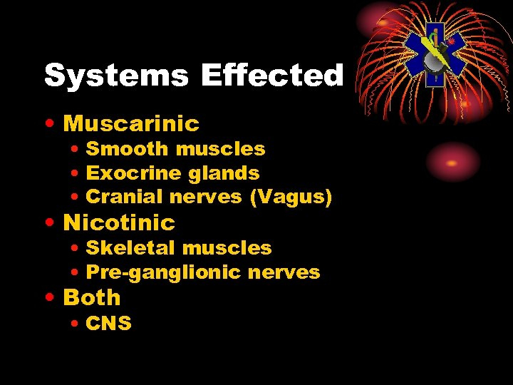 Systems Effected • Muscarinic • Smooth muscles • Exocrine glands • Cranial nerves (Vagus)
