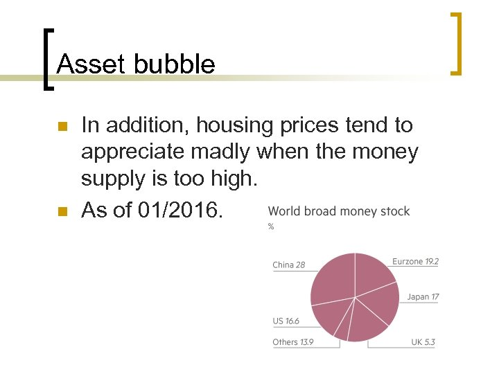 Asset bubble n n In addition, housing prices tend to appreciate madly when the