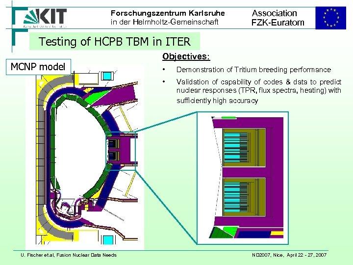 Forschungszentrum Karlsruhe in der Helmholtz-Gemeinschaft Association FZK-Euratom Testing of HCPB TBM in ITER MCNP